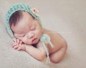 Newborn Baby Bonnet Baby Girl Bonnet with Flower Photography Prop Bonnet