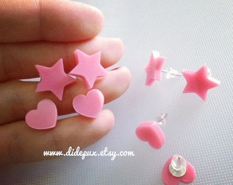 Bubble gum pink heart or  Star stud earrings (select design)ww
