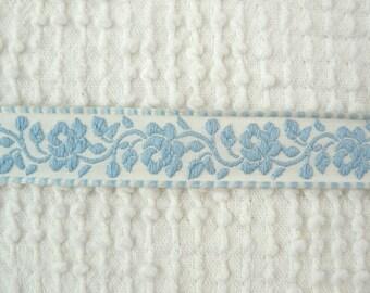 Vintage Light Blue Floral Embroidered Trim - 5 Yards - so sweet