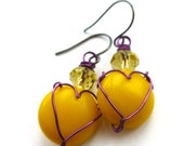 Bright Yellow Vintage Button Earrings with Purple Wire Heart - buttonsoupjewelry