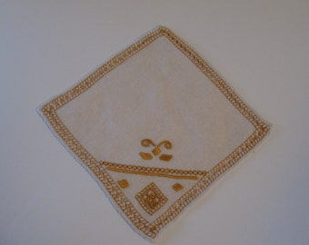 Vintage 6 Linen Coasters with Gold trim and fancy work