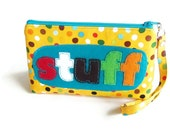 Wristlet Pouch Clutch Make Up Bag Flat Bottom Yellow Polka Dot for your Stuff