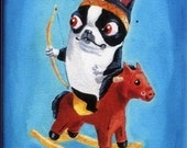 Boston Terrier Cowboy and Indian dog art magnet