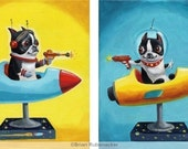 Space Rangers SET- Boston Terrier Print from oil painting