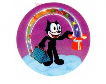 Vintage 1982 Lisa Frank Felix the Cat Magician Sticker 80's