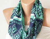 SALE-Infinity Scarf,Blue, green and white,  loop circle geometric handmade from chiffon