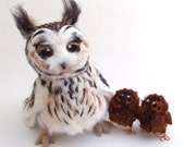 Needle Felted Long Eared Owl Life Sized Collectible Art Doll Owl