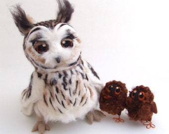 Needle Felted Long Eared Owl Life Sized Collectible Art Doll Owl, Felt Bird Ornament