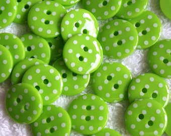 Lime Green and white spotty buttons, 15mm x 5