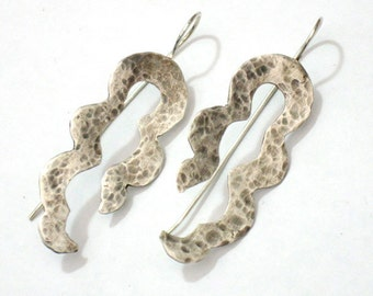 Snake Earrings, Light Earrings, Sterling Silver, Bohemian Dangles, Everyday Earrings, Modern Drop Earrings, Textured Silver Earrings