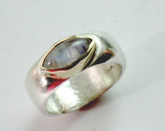 Rainbow Moonstone Ring, Silver Moonstone Ring, Moonstone Jewelry,  Silver Gold & Stone, Solid Silver Ring, Solid Gold Bezel,Eye Shaped Stone