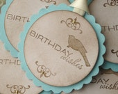 Bird Gift Tags, Blue Gift Tags, Birthday Favor Tags, Bird Favor Tags, Gold Glitter Tags, Birthday Gift Tags, Scallop Tags, Round Tags