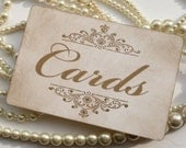Wedding Sign - Cards - with gold glitter - matching items available