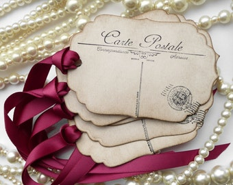 DIY Place Cards, Postcard Favor Tags, Postcard Tags, Place Cards, Wedding Favors, Paris Favor Tags, French Wedding, Marsala Wedding