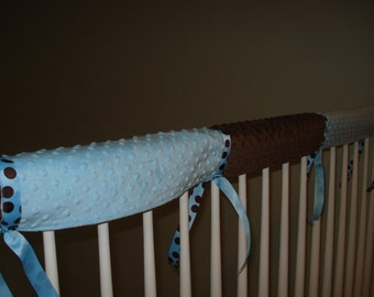 Crib Railing Teething Guard, 3 pcs.- brown and light blue minky