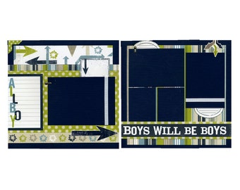 All Boy - Premade Scrapbook Page Set