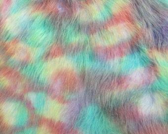 Aurora Borealis - soft pastel rainbow tip on a blue 45mm pile synthetic faux fur fabric -1/4m piece