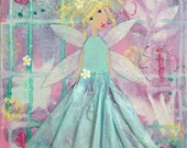 Original Whimsical Mixed Media Fairy Princess Girl Flower Easter Painting on 8 x 10 Stretched Canvas Free Shipping