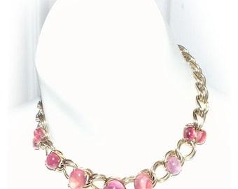 Vintage 1950s Coro Pegasus Pink Quartz Choker Necklace