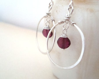 Garnet Heart Hoop Earrings Sterling Silver Holiday Jewelry January Birthstone Valentines Jewelry Small Hoops Gifts Under 50