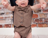 Baby Infant  Boy's Outfit, size 0 to 18 months Vest, Bowtie, diaper cover, Driver styled hat.