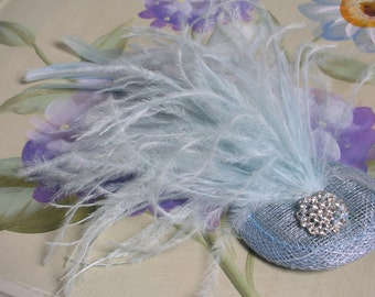 New handmade 1920s inspired pillar box pale blue feather fascinator