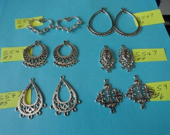 SALE Choose your Charms Tibetan Antiqued Silver Chandelier Earring Findings 6 pcs S547
