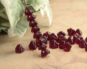 Dark Red Czech Glass Baby Bell Flower Beads Light Garnet 4x6mm (25)