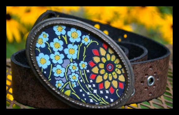The Katherine Belt.  Bold Flower Buckle with Black Leather Belt