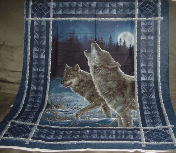 Wolf Wolves Winter Wallhanging Door Quilt Fabric Panel