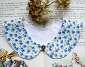 Detachable collar - Peter Pan - Blue flowers on ivory cream, off white