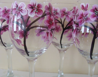 Cherry Blossom Wine Glasses Hand Painted