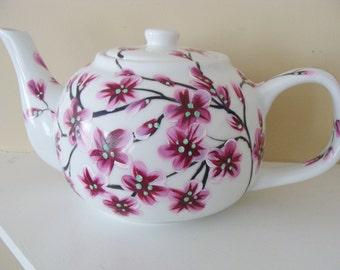 Cherry Blossoms Teapot, Mothers day, asian decor, nature, trees, tree branches, blossom branches, pretty, tea, entertaining, housewarming