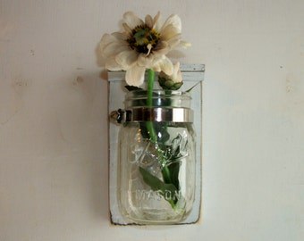 Shabby Wedding White Flower Wood Wall Mason Jar Shelf