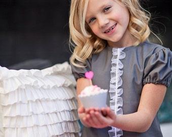Retro 1967 Inspired Adorable Gray ruffle Katie dress-children clothing-girls