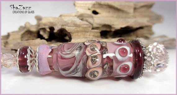 SALE  Large lampwork focal pendant with matching earrings.  Pink, purple, silvered ivory.