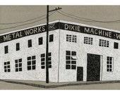 13 x 19 Print of Original Illustration - Dixie Machine Factory Building