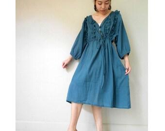 Custom Made Silk Blue  cotton Short  sweet dress one fit all most (H)