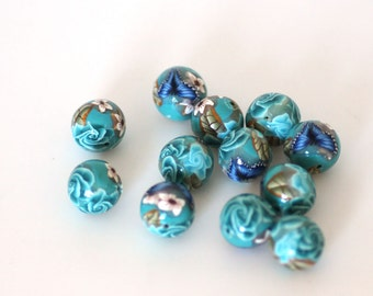 Turquoise Polymer Clay Beads, Blue Green Round Beads Sea Garden Dozen -  Made to Order