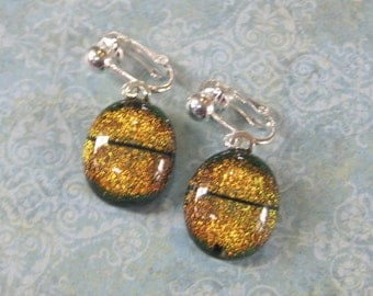 Orange Clip On Earrings, Dangle, Dichroic Ear Clips, Clip Earring Jewelry - Annika - 1827 -3