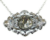 Steampunk Gothic Filigree Ornate Gunmetal Dark Silver Choker with Vintage Watch Movement by Velvet Mechanism
