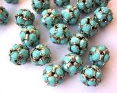 2 Vintage Swarovski beads 10mm, turquoise crystals in silver color metal setting creating ball shape  RARE