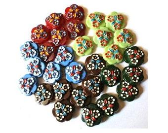 Antique vintage buttons, set of 30 plastic buttons flower shape, 5 colors, vintage rare, 22mm