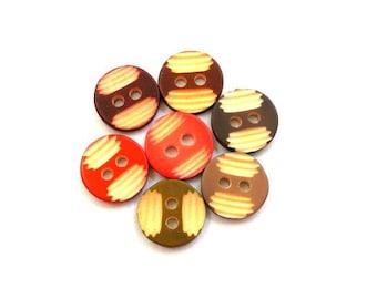 70 Vintage buttons 7 colors, 11mm plastic