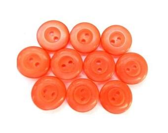 10 vintage lucite plastic orange buttons 12mm