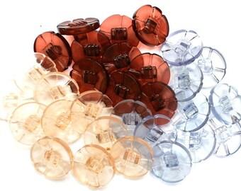 30 Flowers vintage buttons translucent plastic 3 colors trim buttons 18mm