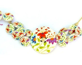 Bracelet button jewelry made of wood buttons colorful flowers on white matching buttons