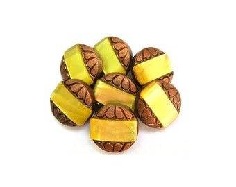 6 Antique vintage buttons, bronze color plastic buttons with yellow trim, 18mm beautiful buttons