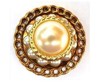 6 Vintage buttons, Jewel plastic trim button bronze color with pearls 30mm