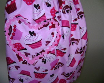 Valentine Cupcake Half Reversable Apron in Pinks and Red